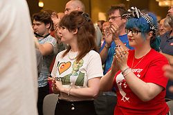 © Licensed to London News Pictures. 25/08/2015. Southampton, UK.  Supporters of Jeremy Corbyn at a rally held in the Hilton at the Ageas Bowl in Southampton after rumours for a Labour split.