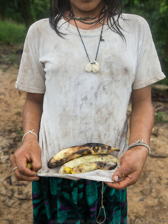 Albania with cooked plantain. . Plantain are grown locally and fruit all year round, making them the all-season staple food of the Tsimane. The Nate family under the opened kitchen hut.