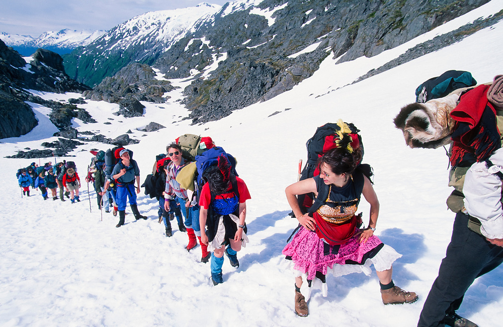 Alaska. Chilkoot Trail. Hikers in Dyea to Dawson approach summit of Alaska's Chilkoot Pass.