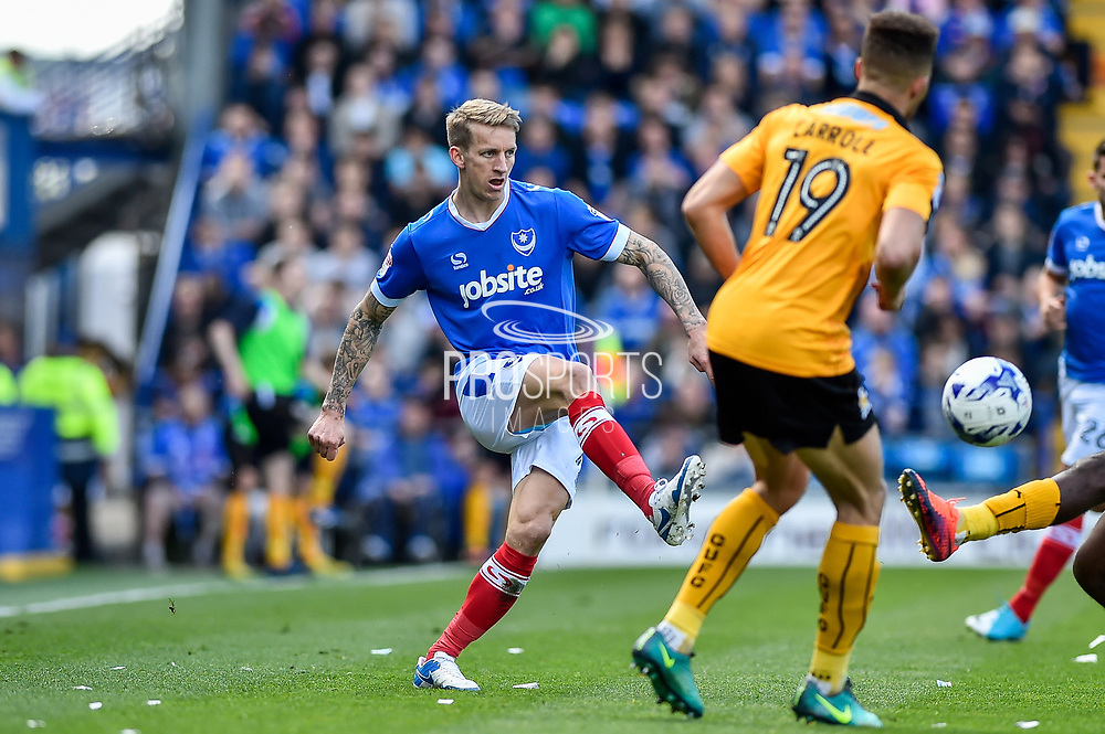 Portsmouth Midfielder, Carl Baker (7) goalscorer with a pass during the EFL Sky Bet League 2 match between Portsmouth and Cambridge United at Fratton Park, Portsmouth, England on 22 April 2017. Photo by Adam Rivers.