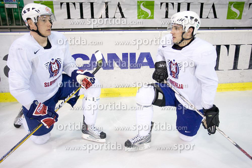 Jan Urbas and  Bostjan Golicic at first practice of Slovenian National Ice hockey team before World championship of Division I - group B in Ljubljana, on April 5, 2010, in Hala Tivoli, Ljubljana, Slovenia.  (Photo by Vid Ponikvar / Sportida)