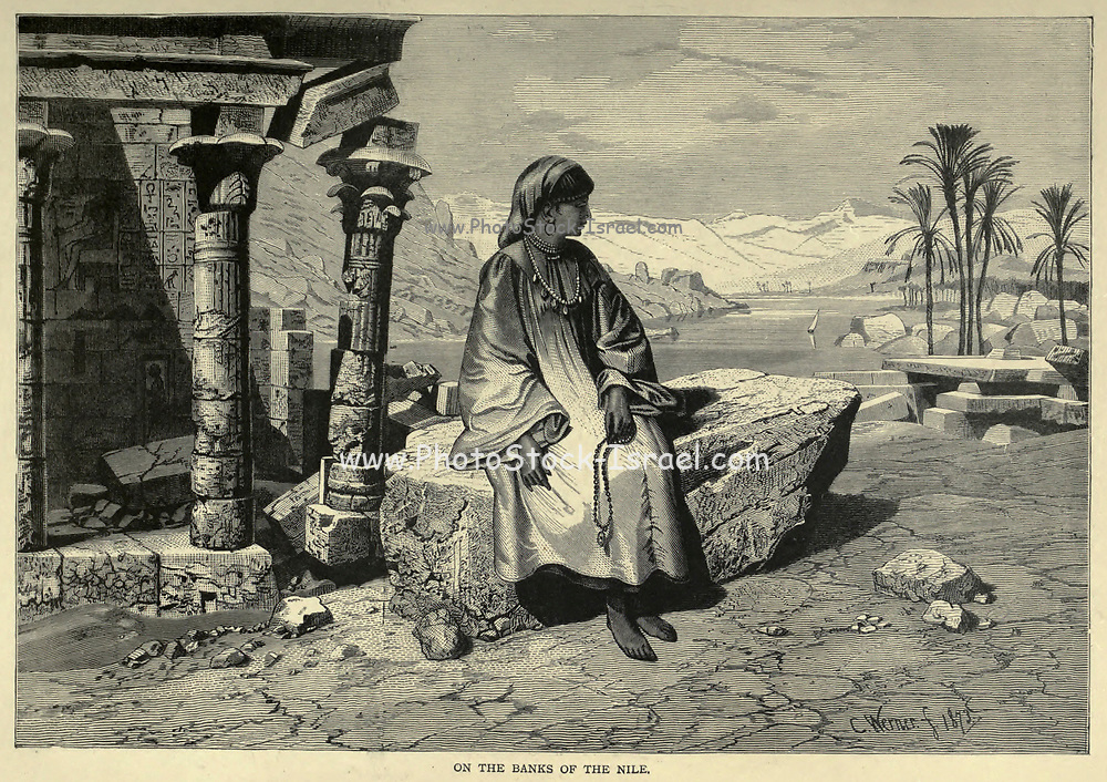 On the banks of the Nile wood engraving From the book 'Picturesque Palestine, Sinai and Egypt : social life in Egypt; a description of the country and its people' with illustrations on Steel and Wood by Wilson, Charles William, Sir, 1836-1905; Lane-Poole, Stanley, 1854-1931. Published by J.S. Virtue in London in 1884
