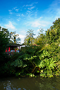 Maidenhead, Berkshire, United Kingdom, Tuesday,  12/10/2021,  General View, Cafe, across the water feature , Ray Mill Island,  River Thames, Thames Valley, [Mandatory Credit; Pete Spurrier],