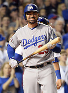 CHICAGO, IL - OCTOBER 16: Adrian Gonzalez #23 of the Los Angeles Dodgers reacts after striking out in the third inning during Game 2 of NLCS against the Chicago Cubs at Wrigley Field on Sunday, October 16, 2016 in Chicago, Illinois. (Photo by Ron Vesely/MLB Photos via Getty Images)  *** Local Caption *** Adrian Gonzalez