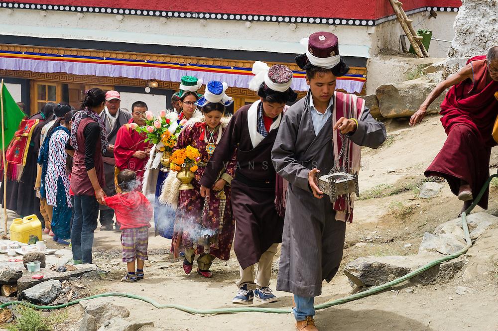 Religious procession after a temple initiation ceremony in Arzu, Ladakh, India, Photo © Robert van Sluis