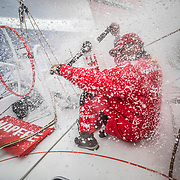 Leg 4, Melbourne to Hong Kong, day 06 on board MAPFRE, Pablo Arrarte at the aft pedestal when he has been beat by a wave. Photo by Ugo Fonolla/Volvo Ocean Race. 06 January, 2018.