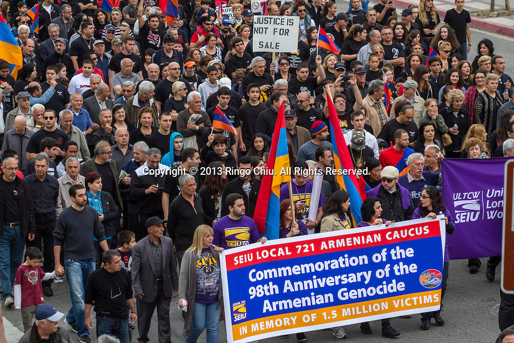 Thousands of Armenians in protest to mark the 98th anniversary of the beginning of the Armenian genocide and to call on the Turkish government to recognize the deaths of about 1.5 million people, in Los Angeles on Wednesday, April 24, 2013.  (Photo by Ringo Chiu/PHOTOFORMULA.com).