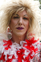 Portrait of a drag queen at the Nottingham Pride Gay Lesbian festival; held at the Arboretum,