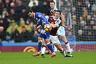 Pedro of Chelsea battles for the ball with Joey Barton of Burnley. Premier league match, Burnley v Chelsea at Turf Moor in Burnley, Lancs on Sunday 12th February 2017.<br /> pic by Chris Stading, Andrew Orchard Sports Photography.