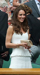 27.06.2011, Wimbledon, London, GBR, ATP World Tour, Wimbledon Tennis Championships, im Bild Newlywed Kate Middleton, aka the Duchess of Cambridge, during the Gentlemen's Singles 4th Round match on day seven of the Wimbledon Lawn Tennis Championships at the All England Lawn Tennis and Croquet Club. EXPA Pictures © 2011, PhotoCredit: EXPA/ Propaganda/ David Rawcliffe +++++ ATTENTION - OUT OF ENGLAND/UK +++++ // SPORTIDA PHOTO AGENCY