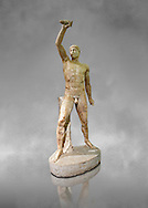 2nd century AD Roman marble sculpture of Aristogeiton  from the Tyrannicide group,  a Roman copy of an early classical period Geek original, inv 6307, Naples Museum of Archaeology, Italy ..<br /> <br /> If you prefer to buy from our ALAMY STOCK LIBRARY page at https://www.alamy.com/portfolio/paul-williams-funkystock/greco-roman-sculptures.html . Type -    Naples    - into LOWER SEARCH WITHIN GALLERY box - Refine search by adding a subject, place, background colour, etc.<br /> <br /> Visit our ROMAN WORLD PHOTO COLLECTIONS for more photos to download or buy as wall art prints https://funkystock.photoshelter.com/gallery-collection/The-Romans-Art-Artefacts-Antiquities-Historic-Sites-Pictures-Images/C0000r2uLJJo9_s0
