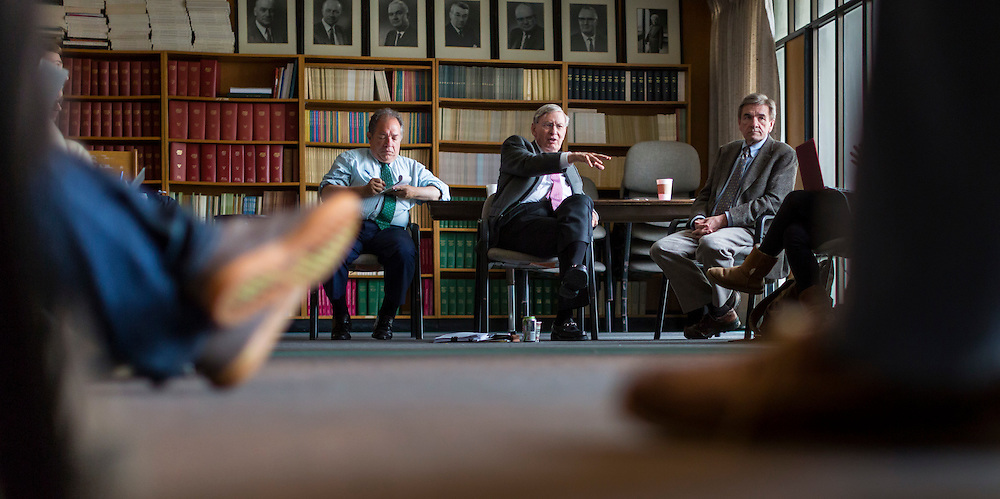 Former Commissioner of Major League Baseball Bud Selig co-teaches a class on baseball with history professor David McDonald at the University of Wisconsin-Madison April 26, 2016. (Photo © Andy Manis)