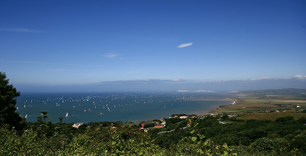 Panoramic view of the 'round the island' race, isle of wight