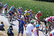 The leaders pass the first cobblestone section during the 105th Tour de France 2018, Stage 9, Arras Citadelle - Roubaix (156,5km) on July 15th, 2018 - Photo George Deswijzen / Proshots / ProSportsImages / DPPI