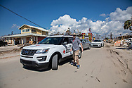 Red Cross worker in Mexico Beach Florida following Hurricane Michael.