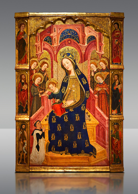 Gothic painted Panel Virgin of the Angels by  Enrique de Estencop. Tempera, stucco reliefs and gold leaf on wood. 1391-1392. Dimensions 142.2 x 99 x 8 cm.  National Museum of Catalan Art, Barcelona, Spain, inv no: 064025-000 .<br /> <br /> If you prefer you can also buy from our ALAMY PHOTO LIBRARY  Collection visit : https://www.alamy.com/portfolio/paul-williams-funkystock/romanesque-art-antiquities.html<br /> Type -     MNAC     - into the LOWER SEARCH WITHIN GALLERY box. Refine search by adding background colour, place, subject etc]<br /> Visit our ROMANESQUE ART PHOTO COLLECTION for more   photos  to download or buy as prints https://funkystock.photoshelter.com/gallery-collection/Medieval-Romanesque-Art-Antiquities-Historic-Sites-Pictures-Images-of/C0000uYGQT94tY_Y