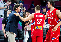 Dejan Bodiroga, Marko Guduric of Serbia  and Boban Marjanovic of Serbia celebrate after winning during basketball match between National Teams of Russia and Serbia at Day 16 in Semifinal of the FIBA EuroBasket 2017 at Sinan Erdem Dome in Istanbul, Turkey on September 15, 2017. Photo by Vid Ponikvar / Sportida