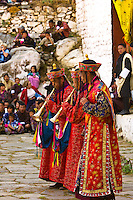 Musicians perform during the Paro Tsechu (Festival), Paro, Bhutan