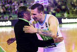 Zoran Jankovic, mayor of Ljubljana and Gregor Hrovat of Slovenia after friendly basketball match between National teams of Slovenia and Croatia, on June 18, 2021 in Arena Stozice, Ljubljana, Slovenia. Photo by Vid Ponikvar / Sportida