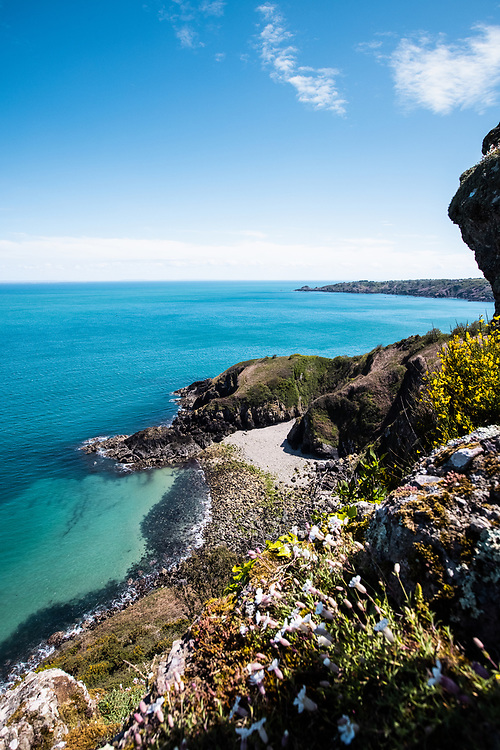 View down to Vicard's Harbour from the top of the cliffs on the North Coast of Jersey CI in Spring