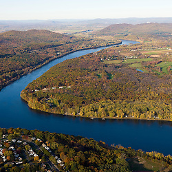 The Connecticut River as it bisects the Holyoke and Mount Tom Ranges.  Holyoke and South Hadley, Massachusetts.