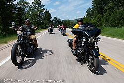 Tom Keefer of Franklin Church Choppers riding his bagger on the Cycle Source Ride up Vanocker Canyon to Nemo during the Sturgis Black Hills Motorcycle Rally. SD, USA. Wednesday, August 7, 2019. Photography ©2019 Michael Lichter.