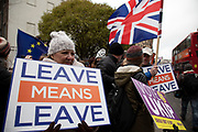 Vote Leave demonstrators protest with placards in Westminster on the day of the 'meaningful vote' when MPs will back or reject the Prime Minister's Brexit Withdrawal Agreement on 15th January 2019 in London, England, United Kingdom.