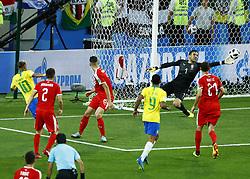 June 27, 2018 - Moscow, Russia - Group E Serbia v Brazil - FIFA World Cup Russia 2018.Vladimir Stojkovic (Serbia) saves on Neymar (Brazil) at Spartak Stadium in Moscow, Russia on June 27, 2018. (Credit Image: © Matteo Ciambelli/NurPhoto via ZUMA Press)