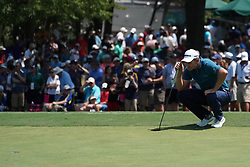 August 10, 2018 - St. Louis, Missouri, United States - Justin Rose lines up a putt on the 9th green during the second round of the 100th PGA Championship at Bellerive Country Club. (Credit Image: © Debby Wong via ZUMA Wire)
