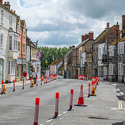 Malmesbury Town centre restrictions in place due to the coronavirus government guildlines.