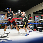 HOLLYWOOD, FL - APRIL 07:  Boxing world champion Wladimir Klitschko spars with another boxer during media day at the Heavyweight Factory Boxing Gym on April 7, 2015 in Hollywood, Florida. Klitschko is in training for his fight against Bryant Jennings. (Photo by Alex Menendez/Getty Images) *** Local Caption *** Wladimir Klitschko