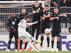 Adem Ljajic of Besiktas JK  takes a free kick during the UEFA Europa League group I match between between Besiktas AS and Malmo FF at the Besiktas Park on December 13, 2018 in Istanbul, Turkey