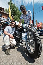 Yuichi Yoshizawa and Yoshikazu Ueda of Custom Works Zon in Japan on their custom Street 750 at the Harley-Davidson Editors Choice Custom Bike Show during the annual Sturgis Black Hills Motorcycle Rally.  SD, USA.  August 9, 2016.  Photography ©2016 Michael Lichter.