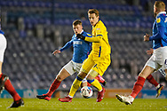 Joe Pigott of AFC Wimbledon in action during the EFL Sky Bet League 1 match between Portsmouth and AFC Wimbledon at Fratton Park, Portsmouth, England on 19 January 2021.