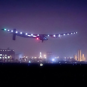 Solar Impulse 2 landing in Muscat, Oman after a 13-hour flight from Abu Dhabi
