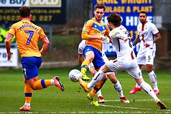 Danny Rose of Mansfield Town passes the ball out wide to Alex MacDonald of Mansfield Town - Mandatory by-line: Ryan Crockett/JMP - 25/01/2020 - FOOTBALL - One Call Stadium - Mansfield, England - Mansfield Town v Bradford City - Sky Bet League Two