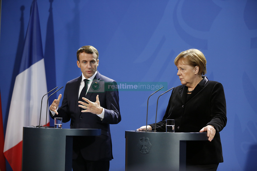 November 18, 2018 - Berlin, Berlin-Tiergarten, Germany - Chancellor Angela Merkel welcomes French President Emmanuel Macron for a joint discussion in the Federal Chancellery during the press conference. (Credit Image: © Simone Kuhlmey/Pacific Press via ZUMA Wire)