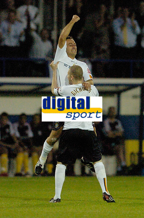 Photo: Leigh Quinnell.<br /> Luton Town v Southampton. Coca Cola Championship.<br /> 09/08/2005.Ahmet Brkovic celebrates his goal for Luton with Kevin Nicholls