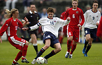 Fotball<br /> Photo: Richard Lane, Digitalsport<br /> Wales v Norge U19 Friendly International at Bethesda. 11/05/2004.<br /> Arnar Førsund - Ørn Horten - shoots as Jamie Price challenges.