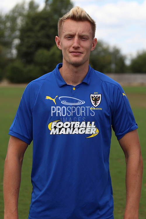 AFC Wimbledon striker Joe Pigott (39) during the AFC Wimbledon 2018/19 official photocall at the Kings Sports Ground, New Malden, United Kingdom on 31 July 2018. Picture by Matthew Redman.