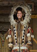 Alaska, Fairbanks. native women teach traditional crafts