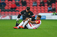 Mallik Wilks of Doncaster Rovers (7) goes down with an injury during the EFL Sky Bet League 1 match between Doncaster Rovers and AFC Wimbledon at the Keepmoat Stadium, Doncaster, England on 17 November 2018.