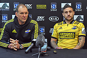 Hurricanes coach John Plumtree (L) and captain TJ Perenara (R) seen at the press conference during the 2019 Investec Super Rugby game between Hurricanes vs Jaguares, Westpac Stadium, Wellington, Friday 17th May 2019. Copyright Photo: Raghavan Venugopal / © www.Photosport.nz 2019