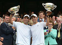 Tennis - 2013 Wimbledon Championships - Mens Doubles Final<br /> Centre Court<br /> <br /> Bob Bryan and Mike Bryan against Ivan Dodig and Marcelo Melo<br /> Bob Bryan and Mike Bryan - USA