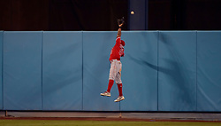 June 27, 2017 - Los Angeles, California, U.S. - Los Angeles Angels left fielder Eric Young Jr. can't reach a three run home run by Los Angeles Dodgers' Joc Pederson (not pictured) in the sixth inning of a Major League baseball game at Dodger Stadium on Tuesday, June 27, 2017 in Los Angeles. (Photo by Keith Birmingham, Pasadena Star-News/SCNG) (Credit Image: © San Gabriel Valley Tribune via ZUMA Wire)