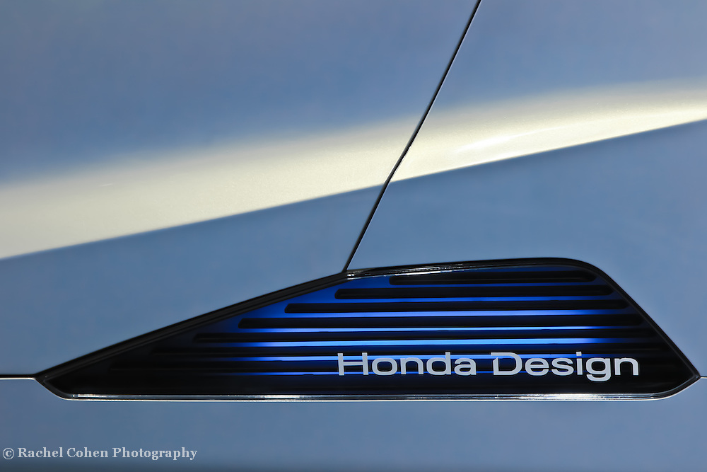"""""""Honda Design""""<br /> <br /> Honda Design. A cool logo and blue light on the side of a Honda concept car at the 2013 NAIAS in Detroit!!<br /> <br /> Cars and their Details by Rachel Cohen"""