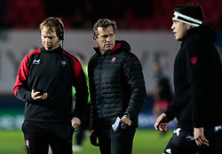 Toulon's Head Coach Fabien Galthie with Tom Whitford during the pre match warm up<br /> <br /> Photographer Simon King/Replay Images<br /> <br /> European Rugby Champions Cup Round 6 - Scarlets v Toulon - Saturday 20th January 2018 - Parc Y Scarlets - Llanelli<br /> <br /> World Copyright © Replay Images . All rights reserved. info@replayimages.co.uk - http://replayimages.co.uk