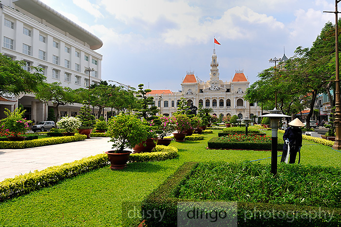 Park leading to the Ho Chi Minh City People's Committee Building (also known as the Saigon Town Hall, the Saigon City Hall or the Ho Chi Minh City Hall). Ho Chi Minh City (Saigon), Vietnam