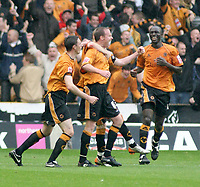 Photo: Mark Stephenson.<br /> Wolverhampton Wanderers v West Bromwich Albion. Coca Cola Championship. Play off Semi Final, 1st Leg. 13/05/2007.Wolve's Jody Craddock (C) celebrates his goal for 1-1