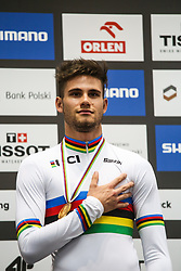 March 1, 2019 - Pruszkow, Poland - Filippo Ganna of Italy celebrates on the podium winning the gold medal in the Men's individual pursuit final on day three of the UCI Track Cycling World Championships held in the BGZ BNP Paribas Velodrome Arena on March 01, 2019 in Pruszkow, Poland. (Credit Image: © Foto Olimpik/NurPhoto via ZUMA Press)